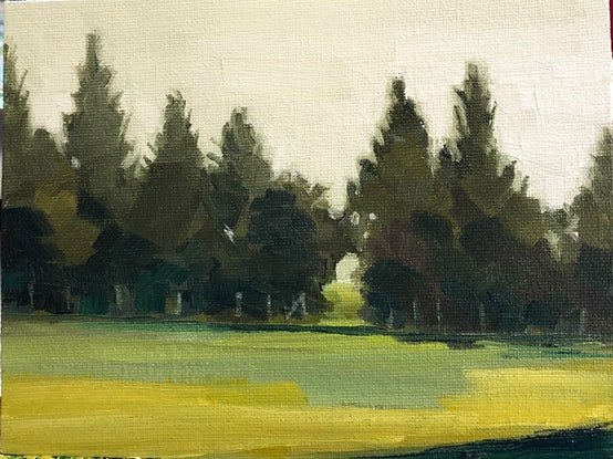 """(CreativeWork) Walking Saint Boswells, Small painting, framed or unframed 6x8"""" by Gail McKenzie. Oil Paint. Shop online at Bluethumb."""
