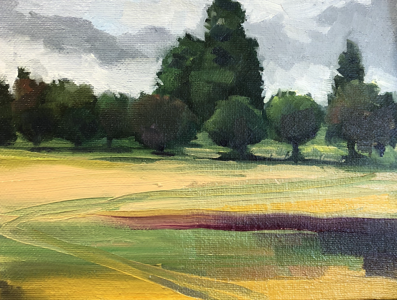 """(CreativeWork) Walking the Borders Abbey Way,  Small painting, framed or unframed 6x8"""" by Gail McKenzie. Oil Paint. Shop online at Bluethumb."""