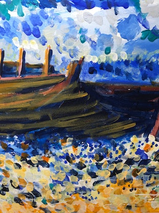 (CreativeWork) Coastal wreck by Geoff Hargraves. Acrylic Paint. Shop online at Bluethumb.