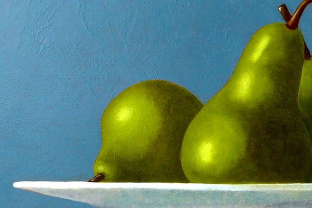 (CreativeWork) Jug with Pears by James McFarlane. Oil Paint. Shop online at Bluethumb.