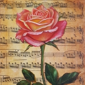(CreativeWork) Music Rose II by Natasha Junmanee. mixed-media. Shop online at Bluethumb.