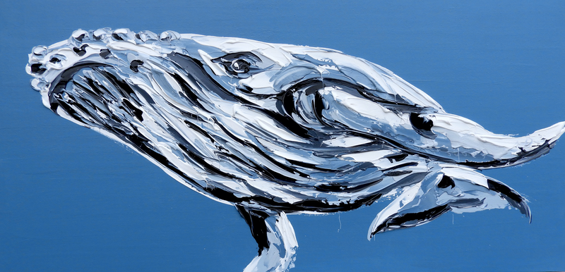 (CreativeWork) Little Humpback Whale by Lisa Fahey. Acrylic Paint. Shop online at Bluethumb.