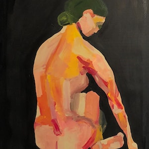 (CreativeWork) Untitled nude of Orquevaux by Sharon Monagle. arcylic-painting. Shop online at Bluethumb.
