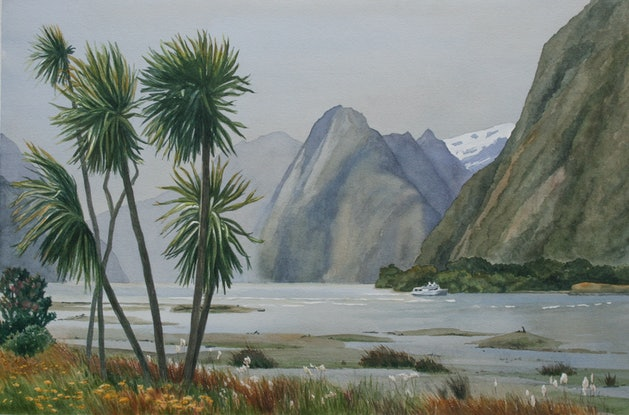 (CreativeWork) Windy Evening, Milford Sound by JAN LAWNIKANIS. Watercolour Paint. Shop online at Bluethumb.