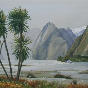 (CreativeWork) Windy Evening, Milford Sound by JAN LAWNIKANIS. watercolour. Shop online at Bluethumb.