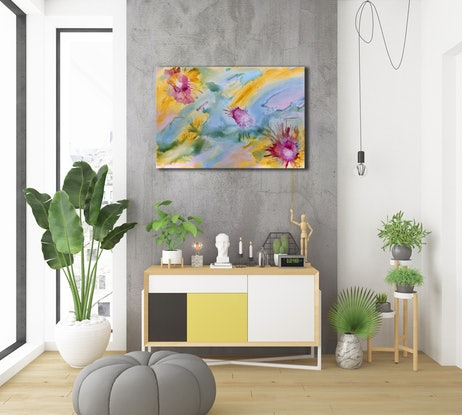 (CreativeWork) Reef Bloom II -  Original Abstract Art by Jacquelyn Stephens. Mixed Media. Shop online at Bluethumb.