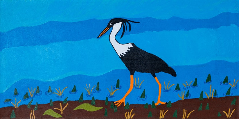 (CreativeWork) Brolga (17-TA131) by Lindy Brodie. Acrylic Paint. Shop online at Bluethumb.