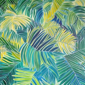 (CreativeWork) Jungle Palms by Angela Hawkey. mixed-media. Shop online at Bluethumb.
