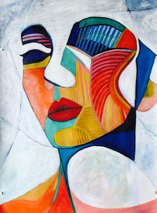 (CreativeWork) Abstract Woman - Just an Illusion  - Cubism by Lee Wilde. Acrylic Paint. Shop online at Bluethumb.