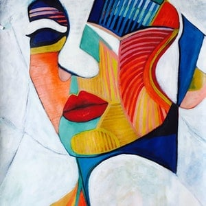 (CreativeWork) Abstract Woman - Just an Illusion  - Cubism by Lee Wilde. acrylic-painting. Shop online at Bluethumb.