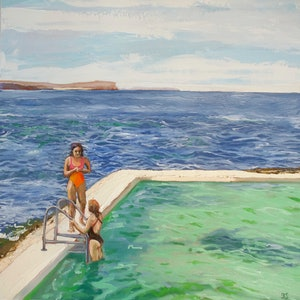 (CreativeWork) First swim of the season, Fairy Bower, Manly by fiona smith. oil-painting. Shop online at Bluethumb.