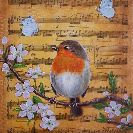 (CreativeWork) Little Songbird I - Robin by Natasha Junmanee. Mixed Media. Shop online at Bluethumb.
