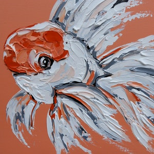 (CreativeWork) Oranda Goldfish on Coral by Lisa Fahey. arcylic-painting. Shop online at Bluethumb.