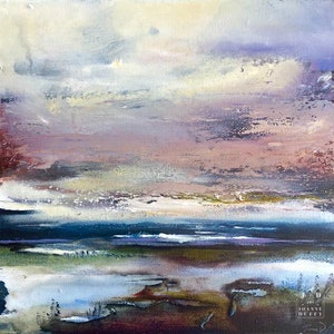 (CreativeWork) Lake Morning by Joanne Duffy. oil-painting. Shop online at Bluethumb.