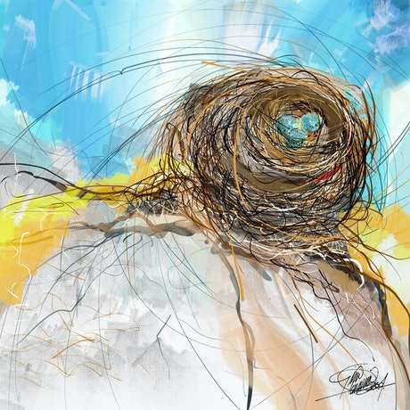 (CreativeWork) Nest on the hill by Gino Ciancio. Other Media. Shop online at Bluethumb.