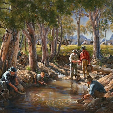(CreativeWork) GOLD PANNING IN OAKEY CREEK 1881 (Size C) Ed. 3 of 150 by Ron and Jennifer Marshall. Print. Shop online at Bluethumb.