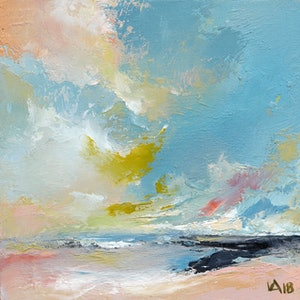 (CreativeWork) Abstract landscape oil painting  - Soliloquy 3 by Lamice Ali. oil-painting. Shop online at Bluethumb.