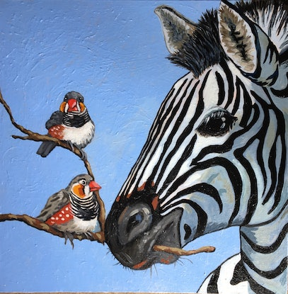 (CreativeWork) Birds of a Feather by sara bell. Oil Paint. Shop online at Bluethumb.