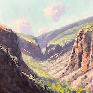 (CreativeWork) Serpentine Gorge by John Rice. oil-painting. Shop online at Bluethumb.