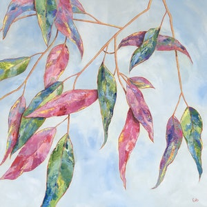 (CreativeWork) Eucalyptus Carnival by Eve Sellars. arcylic-painting. Shop online at Bluethumb.