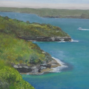 (CreativeWork) Landscape (plein air) - Georges Heights Headland Looking Back Across the Headlands by Ishbel Morag Miller. oil-painting. Shop online at Bluethumb.