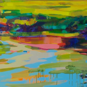 (CreativeWork) Lakeside Reflections by Carmen McFaull. arcylic-painting. Shop online at Bluethumb.