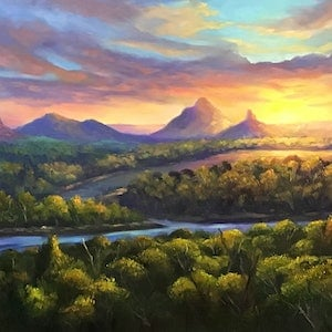(CreativeWork) Sunset on Glasshouse Mountains - Queensland by Christopher Vidal. oil-painting. Shop online at Bluethumb.