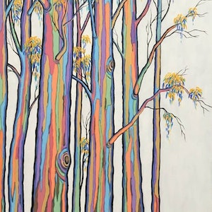 (CreativeWork) POLYCHROME EUCALYPTI 15 by Saadah Kent. arcylic-painting. Shop online at Bluethumb.