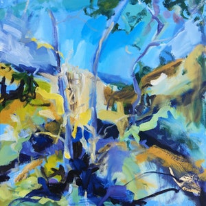 (CreativeWork) Slipping Horizon by Nicole Foxall. oil-painting. Shop online at Bluethumb.