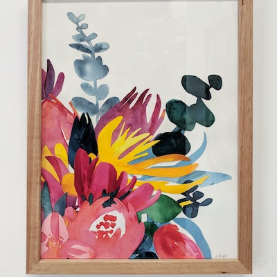 (CreativeWork) Native floral bouquet — watercolour collage by Lyndsey Knight. #<Filter:0x00007f1f7a7d81b0>. Shop online at Bluethumb.