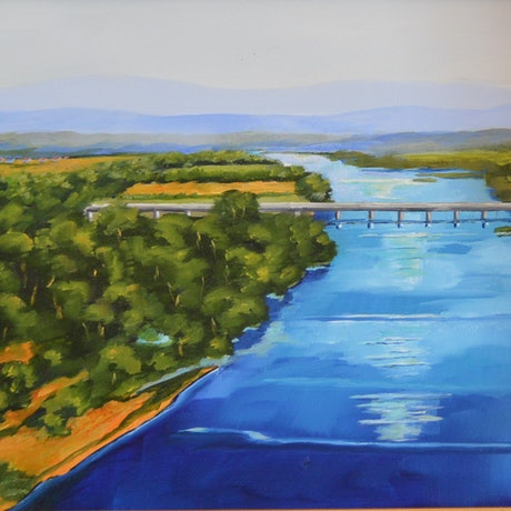 (CreativeWork) Moruya River NSW by Murray McLeod. Oil Paint. Shop online at Bluethumb.
