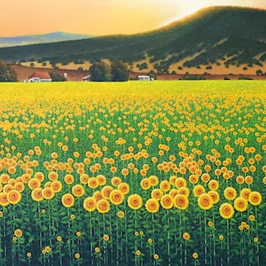 (CreativeWork) Sunflowers Of The Southern Downs by David O'Halloran. arcylic-painting. Shop online at Bluethumb.