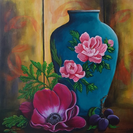 (CreativeWork) ANENOME WITH ORIENTAL SCREEN  by Christine Hookham. Acrylic Paint. Shop online at Bluethumb.