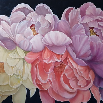 (CreativeWork) Peonies,  Lavender and Cream  by Christine Hookham. #<Filter:0x00007f18b42525c8>. Shop online at Bluethumb.