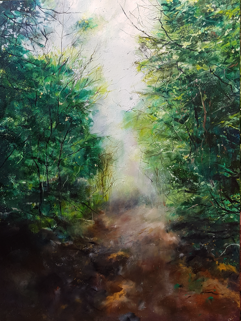 (CreativeWork) Another Way Through by Fae Ballingall. oil-painting. Shop online at Bluethumb.