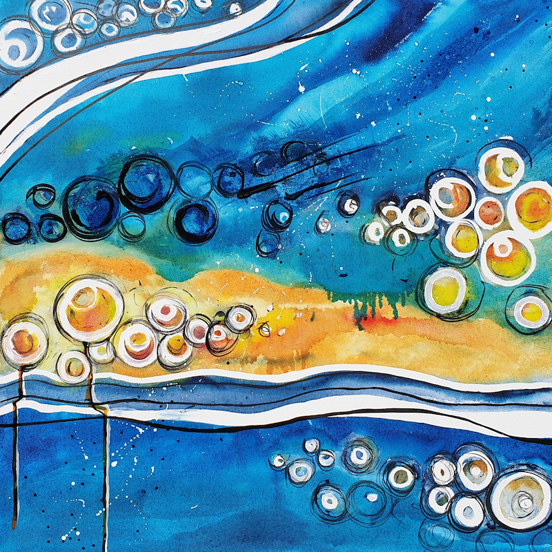 (CreativeWork) Digging for Pippies by Angela Hawkey. mixed-media. Shop online at Bluethumb.