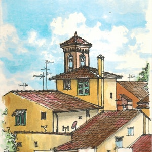(CreativeWork) Florence Italy - View from the hill - Watercolour by Natasha Junmanee. watercolour. Shop online at Bluethumb.
