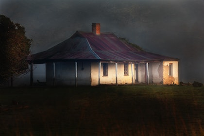 (CreativeWork) Abandoned Farm House in Morning Fog by Craig Hammersley. photograph. Shop online at Bluethumb.