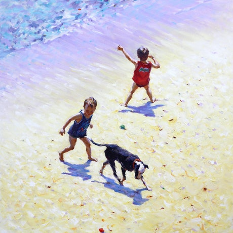 (CreativeWork) Seaside Frolicking by Grace Huang. Oil Paint. Shop online at Bluethumb.