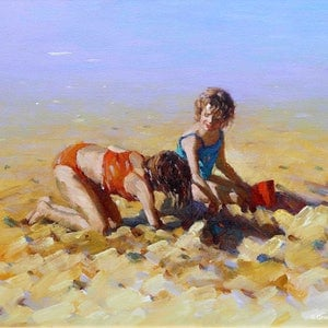 (CreativeWork) Sunny Day Fun by Grace Huang. oil-painting. Shop online at Bluethumb.