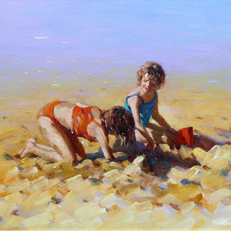 (CreativeWork) Sunny Day Fun by Grace Huang. Oil Paint. Shop online at Bluethumb.