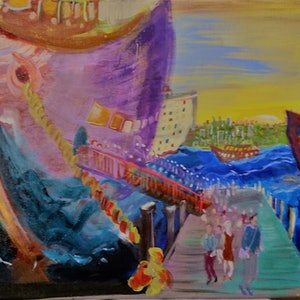 (CreativeWork) The First Ferry Arrives by Shaun J Myles. arcylic-painting. Shop online at Bluethumb.