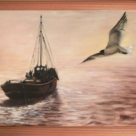 (CreativeWork) The Early Catch by Gerard Maille. Oil Paint. Shop online at Bluethumb.