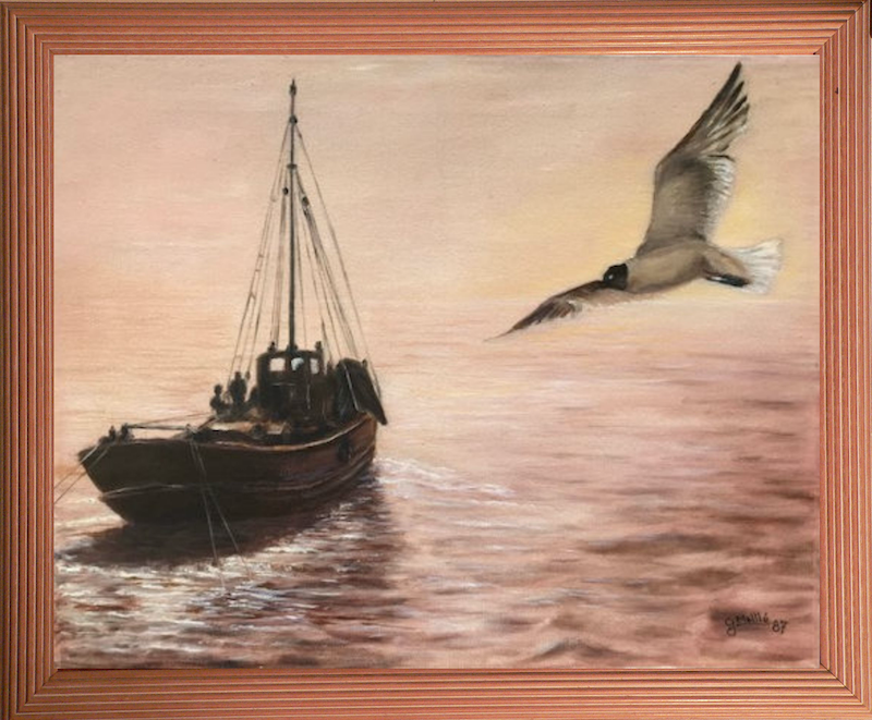 (CreativeWork) The Early Catch by Gerard Maille. oil-painting. Shop online at Bluethumb.