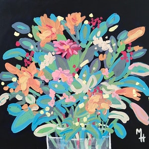 (CreativeWork) Flowers 4 U 4 by Meredith Howse. arcylic-painting. Shop online at Bluethumb.