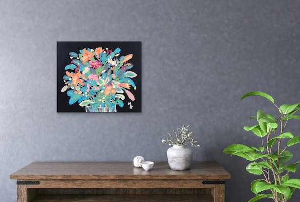 (CreativeWork) Flowers 4 U 4 by Meredith Howse. Acrylic Paint. Shop online at Bluethumb.
