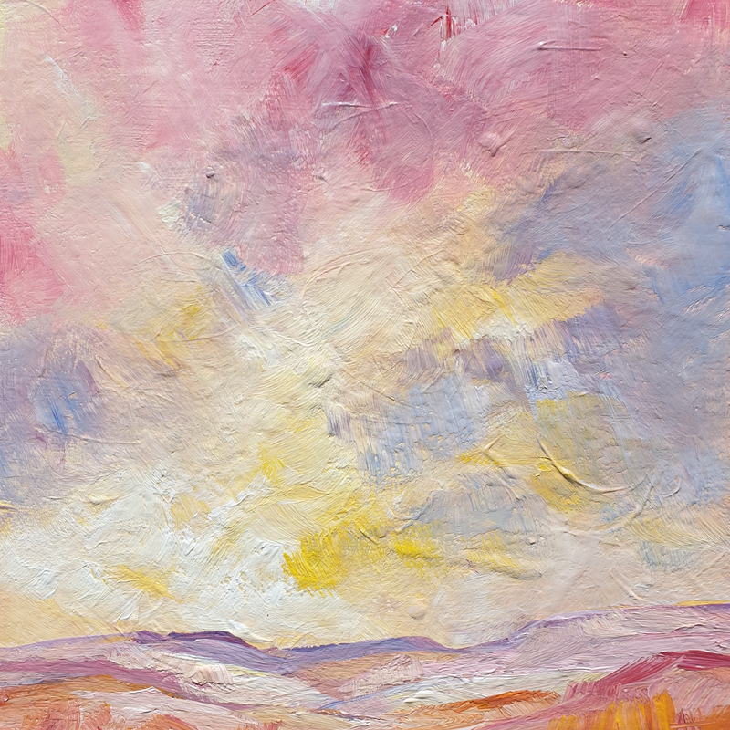 (CreativeWork) Sunset over Numinbah by Angela Hawkey. arcylic-painting. Shop online at Bluethumb.