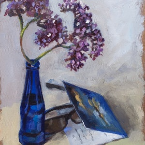 (CreativeWork) A dark glass bottle from imported beer by Ekaterina Strounina. oil-painting. Shop online at Bluethumb.