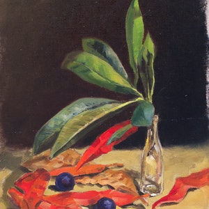 (CreativeWork) Still life with blue quandong by Ekaterina Strounina. oil-painting. Shop online at Bluethumb.