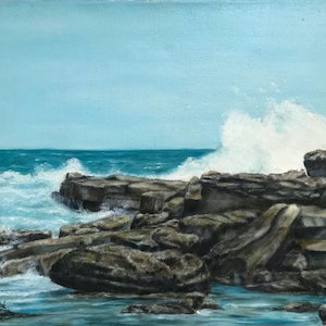 (CreativeWork) Symphony by the Sea by Gerard Maille. oil-painting. Shop online at Bluethumb.